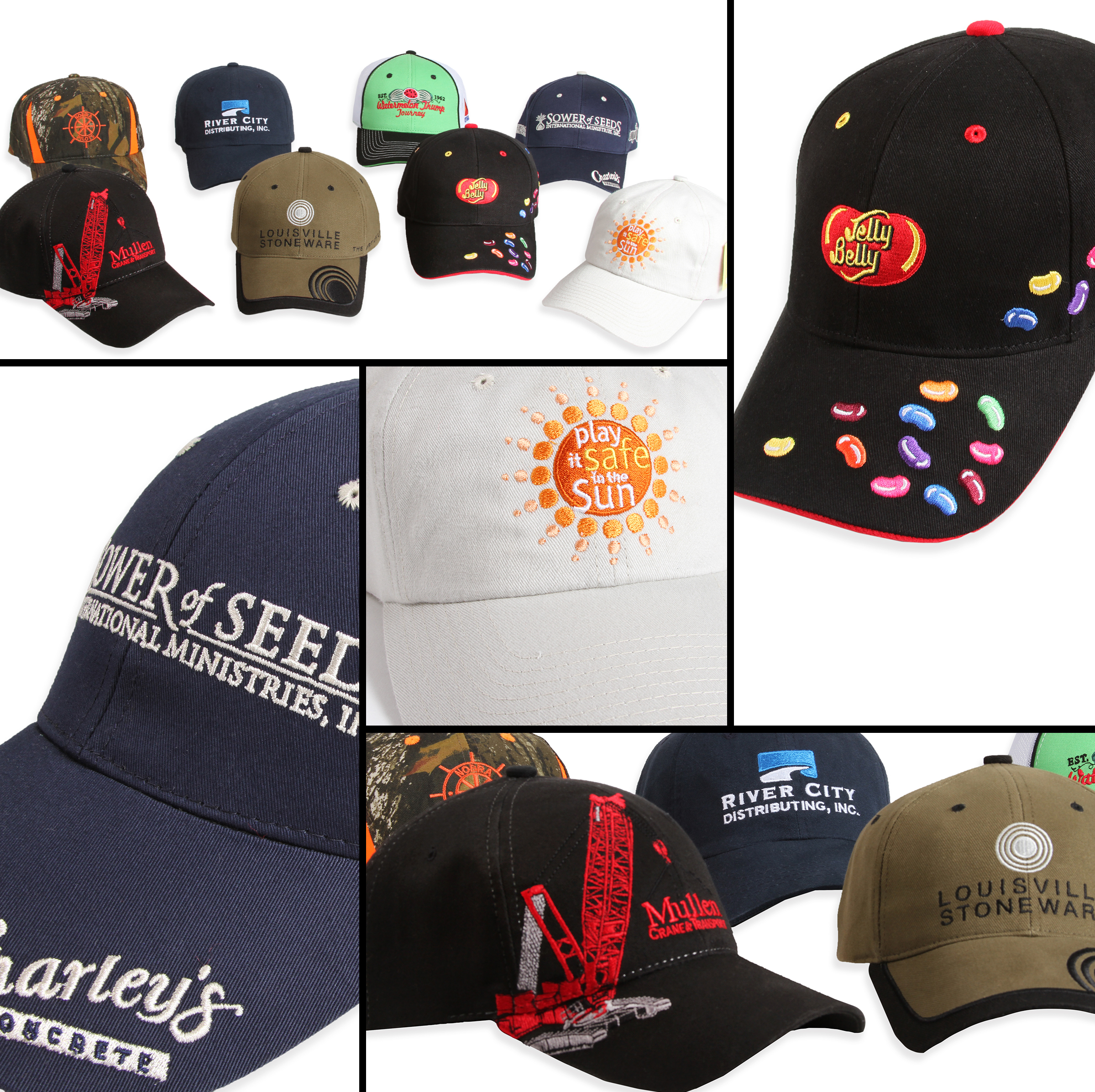 Examples of many ways to show your brand to the world, one cap at a time.