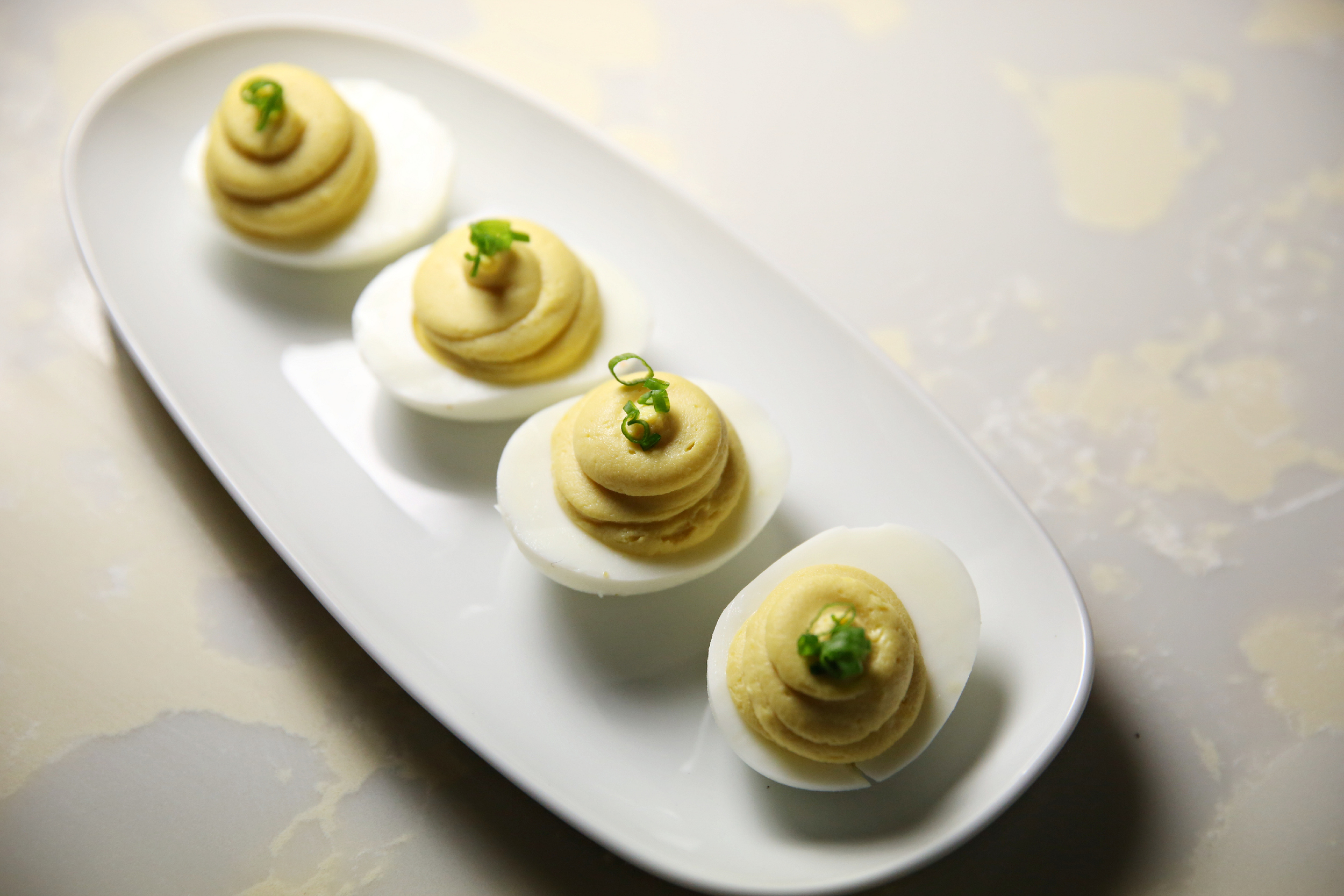 Deviled eggs, espelette