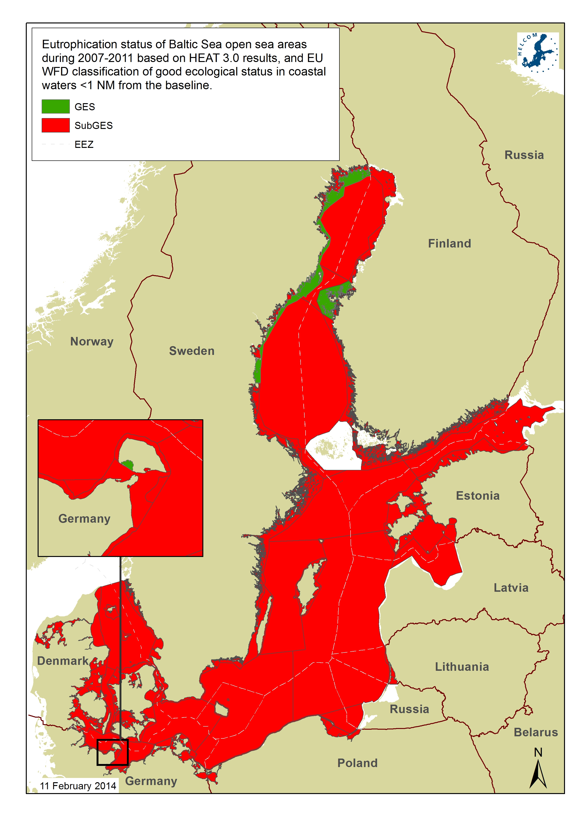 Eutrophication status in 2007-2011 was assessed as being affected by eutrophication in the entire open Baltic Sea (red colour, status less than good; sub-GES).
