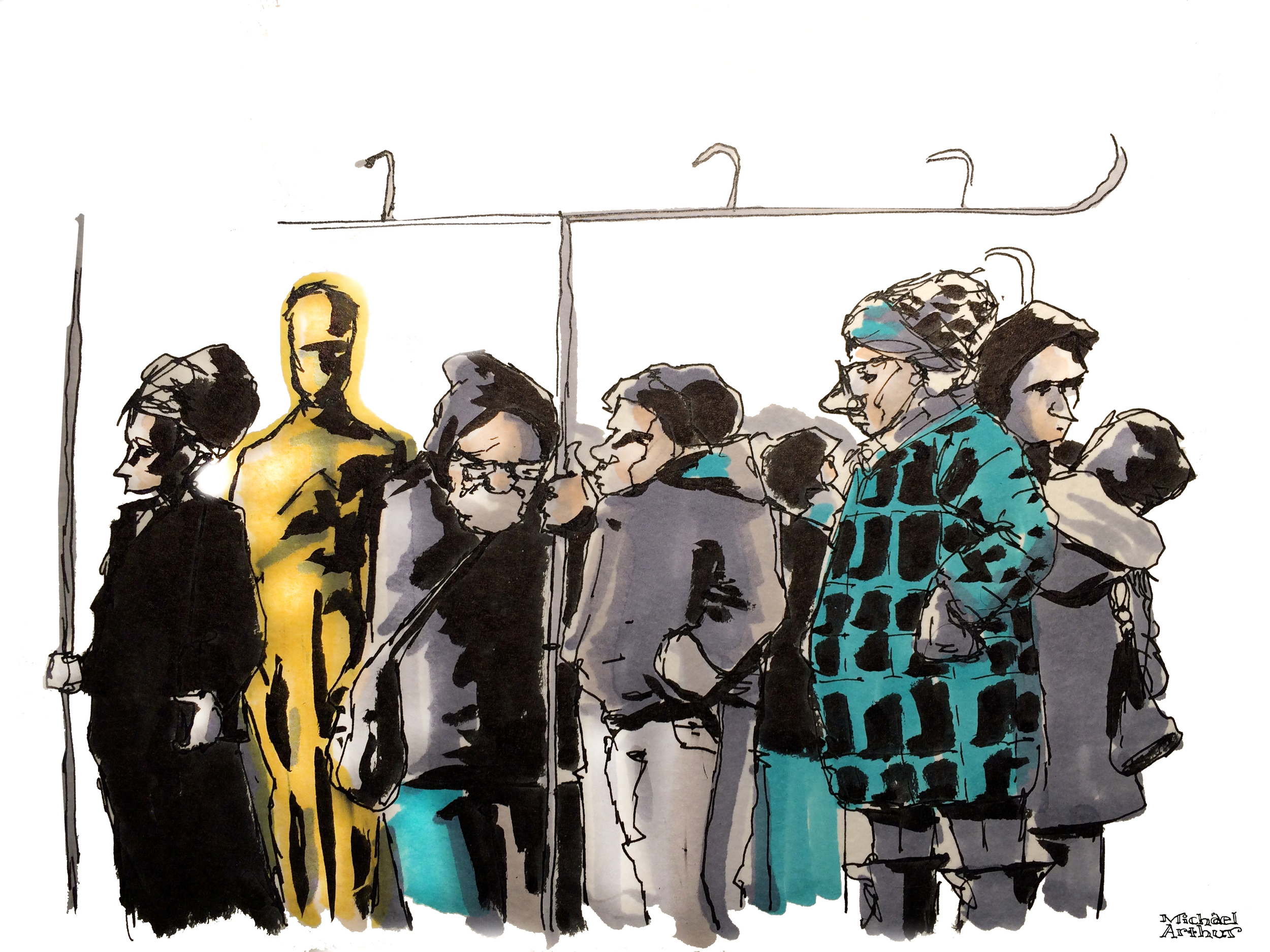 Started this drawing earlier today on the subway while running errands and finished it up at home on the red carpet while Laura made dinner. I think every nominee should take the subway to the Oscar Ceremony. If I run for president that will probably be my platform. I don't expect my campaign to do too well.