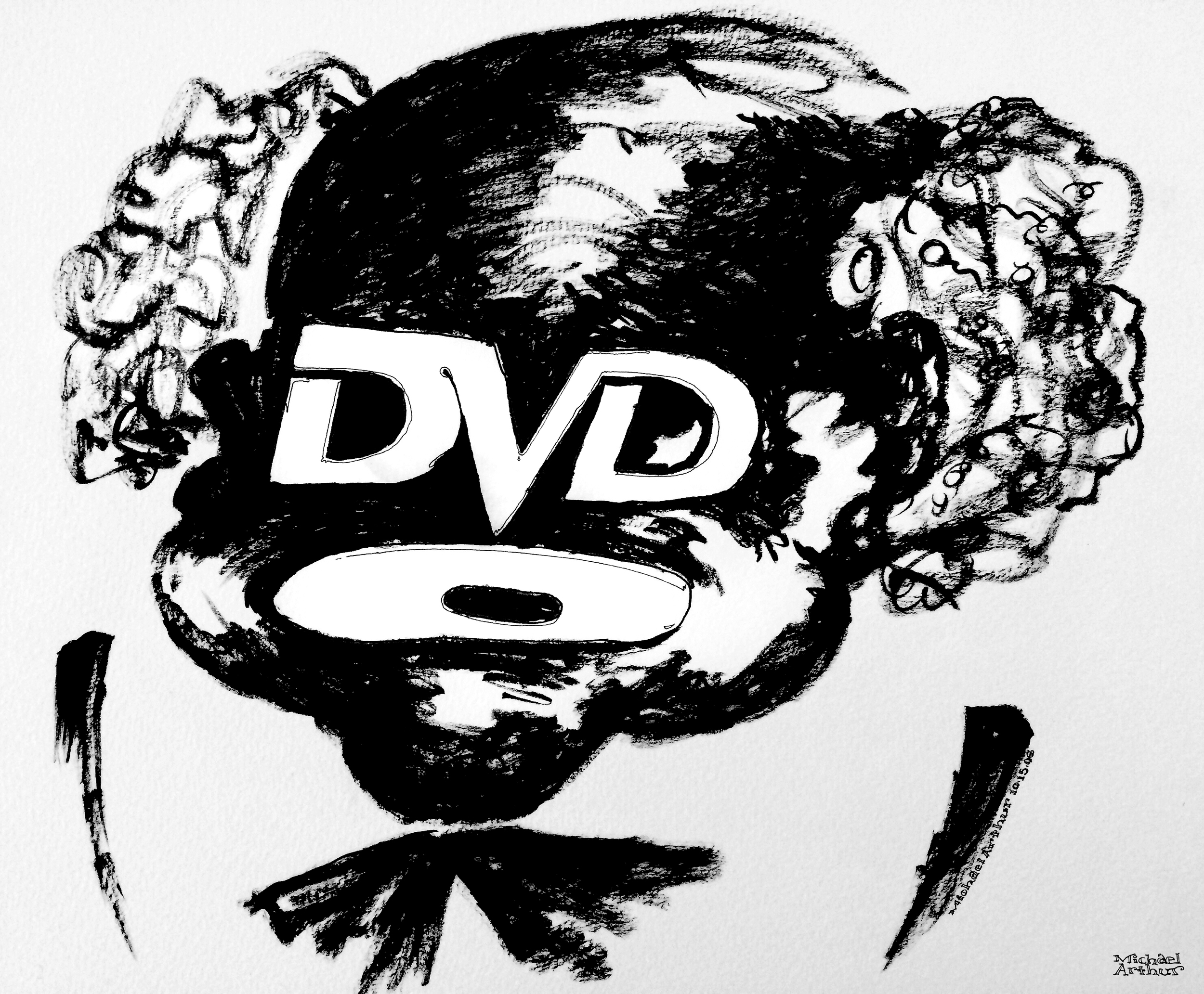 Been doing some studio cleaning lately and came across this drawing from 2008. Drawn, late one night when I was home alone and my eyes fell on a nearby DVD case.  The minstrel face remains a powerful, if subliminal, marketing tool. Our history hides in plain sight, sitting there everyday, looking back at us.  Just saying…