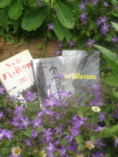 Three of my 'books' surrounded by early summer flowers.