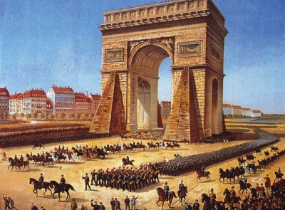 The victorious Prussians march through Paris, 1871