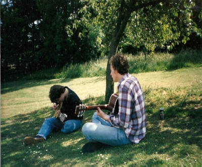 Those were the days! Acoustic guitars, jamming in the sun. Hair.