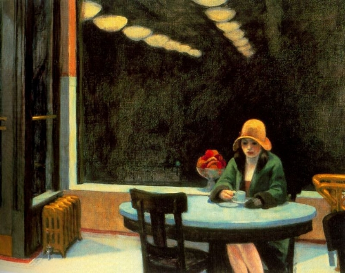 Automat, 1927 Edward Hopper. Yeah. Hopper knows. Listening to The Smiths probably.
