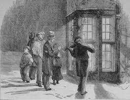 Carol singers outside Robson Towers in years gone by.