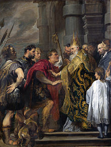 Ambrose barring Theodosius from Milan Cathedral.