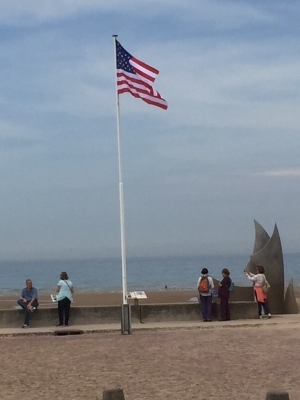The American Flag flying high, Omaha Beach 2018