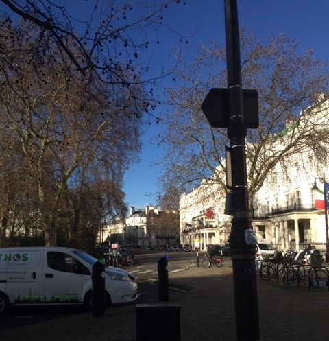 A white van on Belgrave Square January 2019. Tim's skill as a professional photographer are called into question.