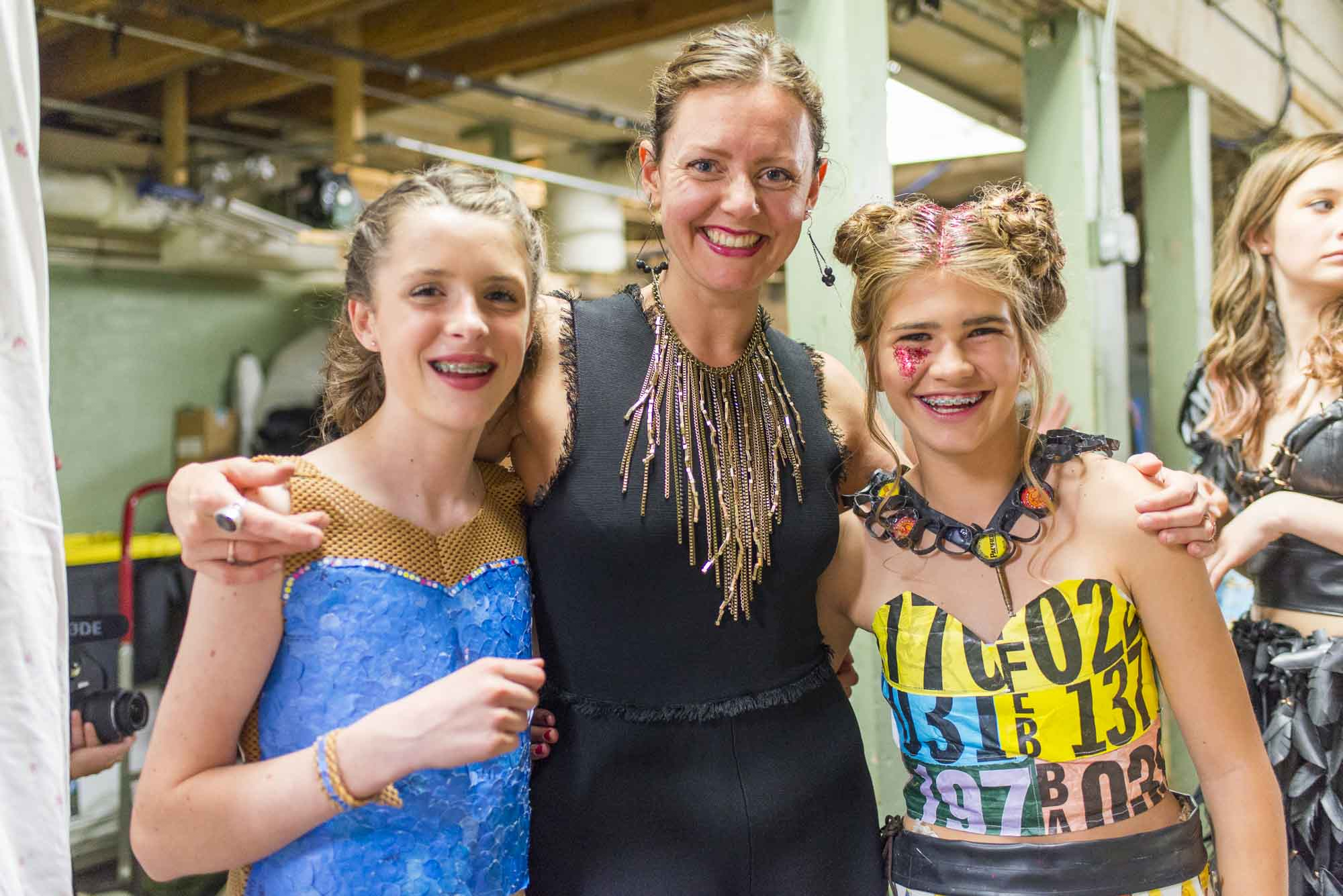 Rachel with two student designers at RR08; image:  Dylan Crossley Photography .