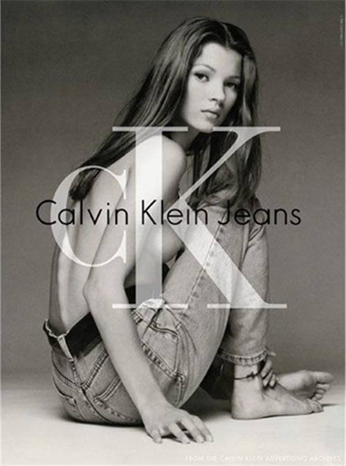 Kate Moss for CK Calvin Klein circa 1992. Image via Who What Wear.