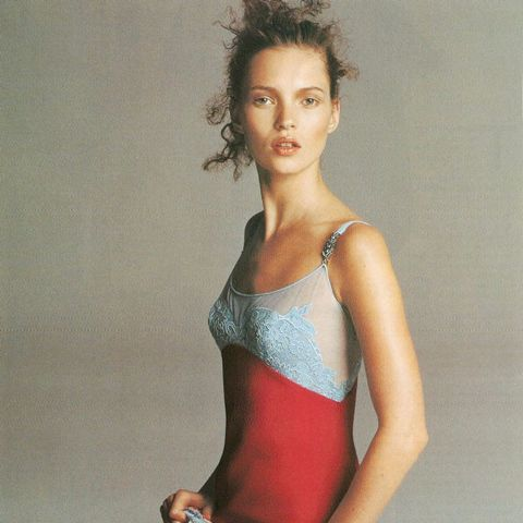 Kate Moss for  Versace  circa 1990s. Image via Who What Wear