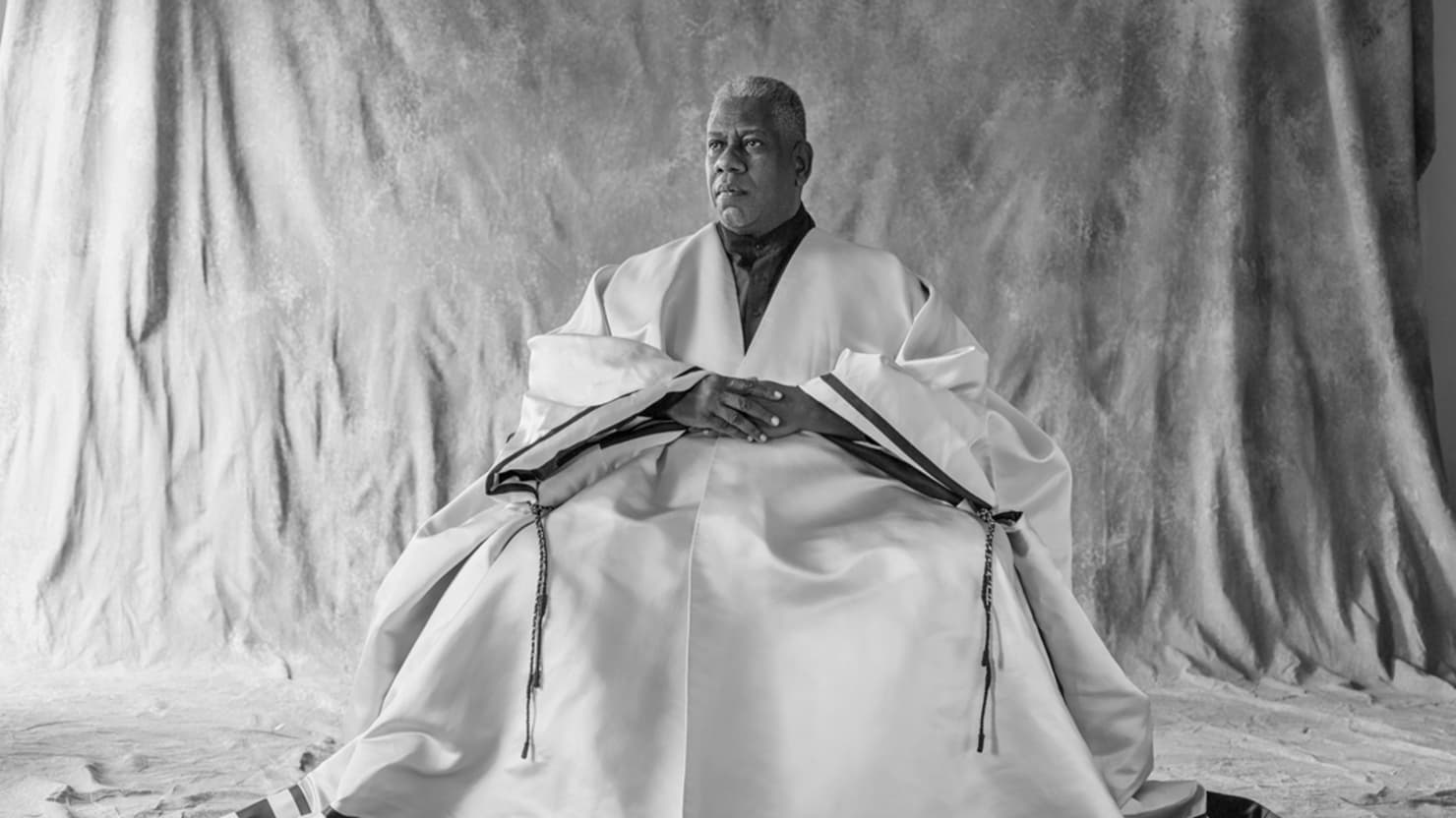 Andre Leon Talley in a signature caftan; image via The Daily Beast.
