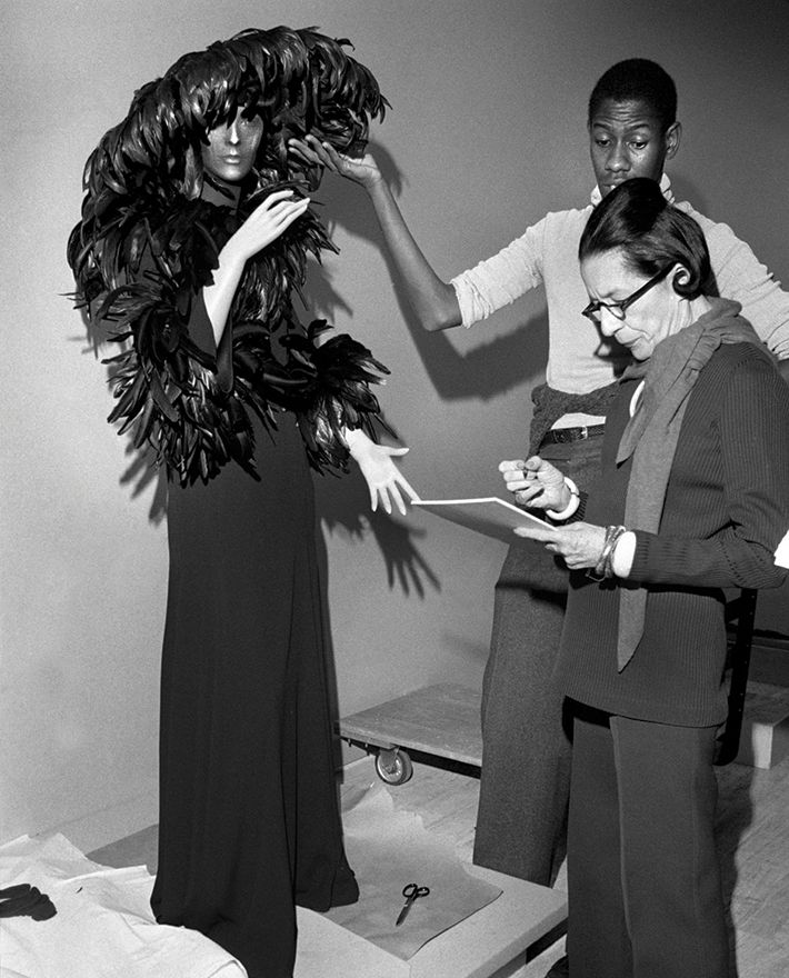 Working with Diana Vreeland of Vogue; image via Pinterest.