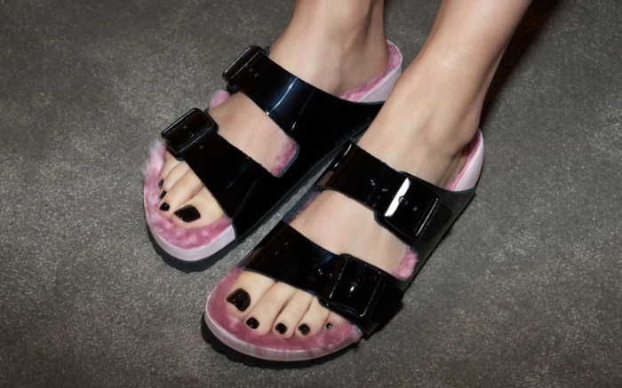 Birkenstock  x  Barneys  PVC slides; image via Barneys New York.