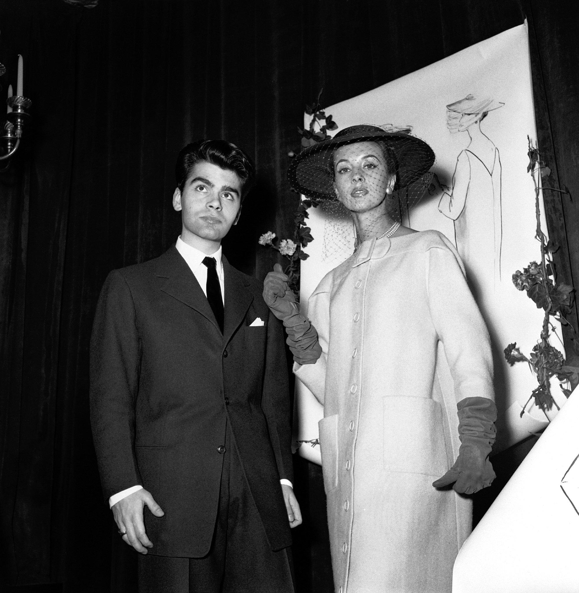 Winning the coat division at a Parisian design competition at approx. age 16; image via The New York Times.