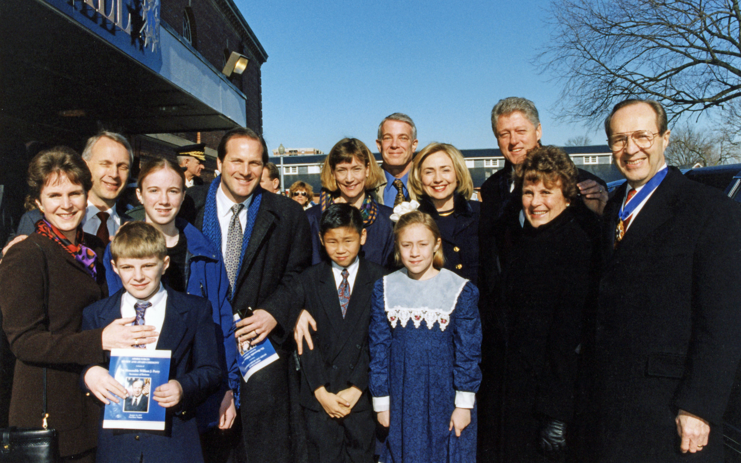 Perry family with President and Mrs. Clinton after Perry's farewell ceremony, January 1997.