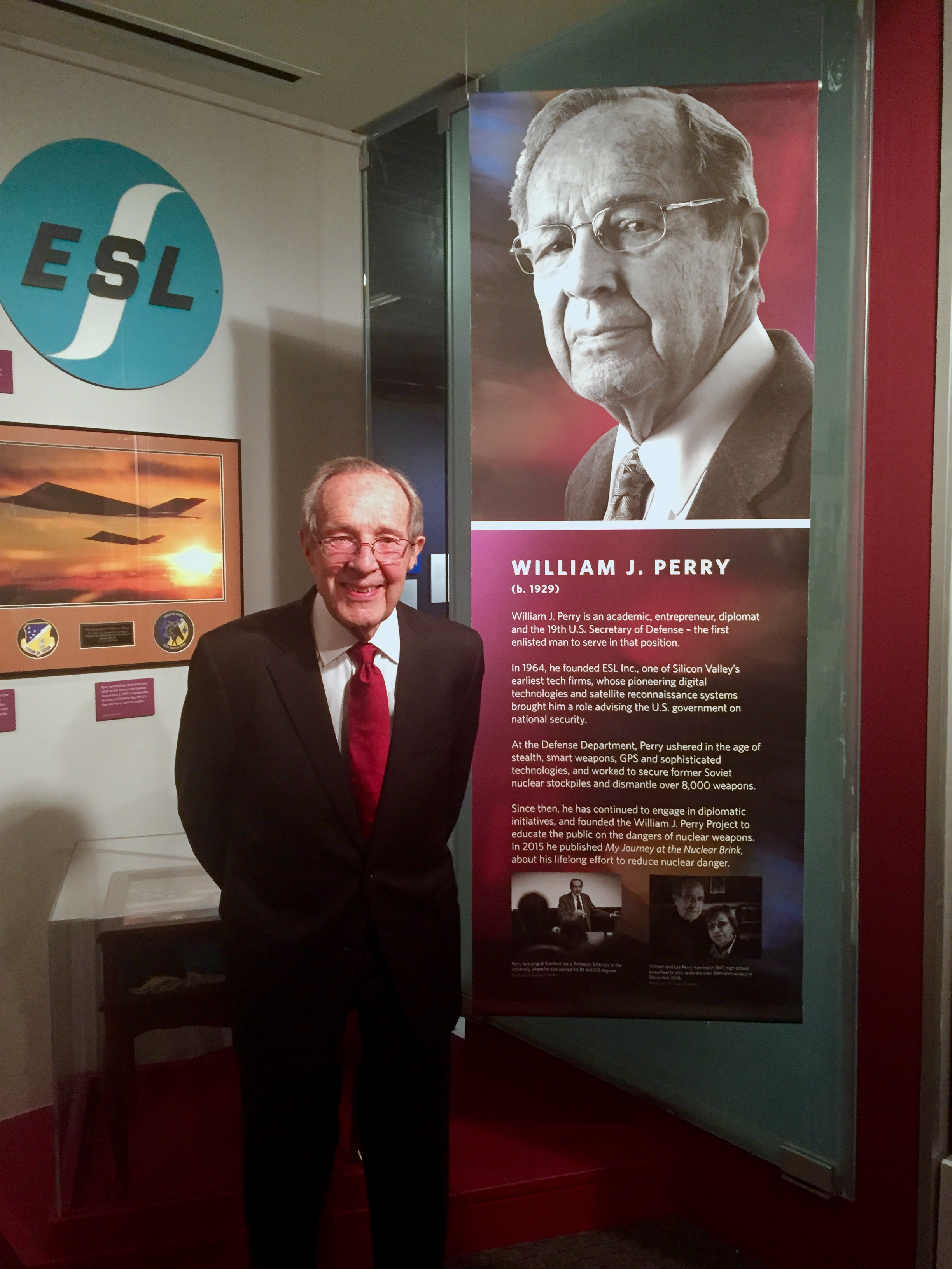 Bill Perry stands in front of his sections in the California Hall of Fame