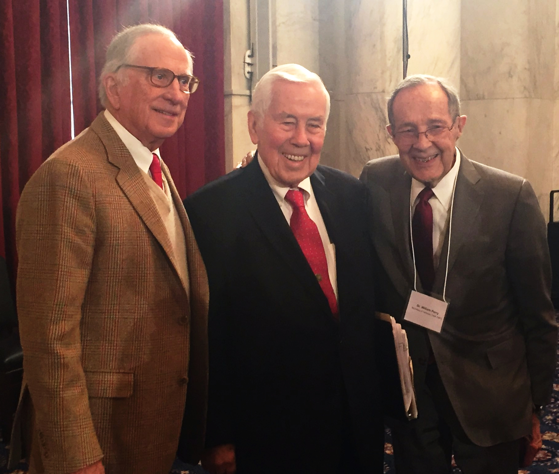 Sam Nunn, Richard Lugar, and William Perry at the Nunn-Lugar award ceremony