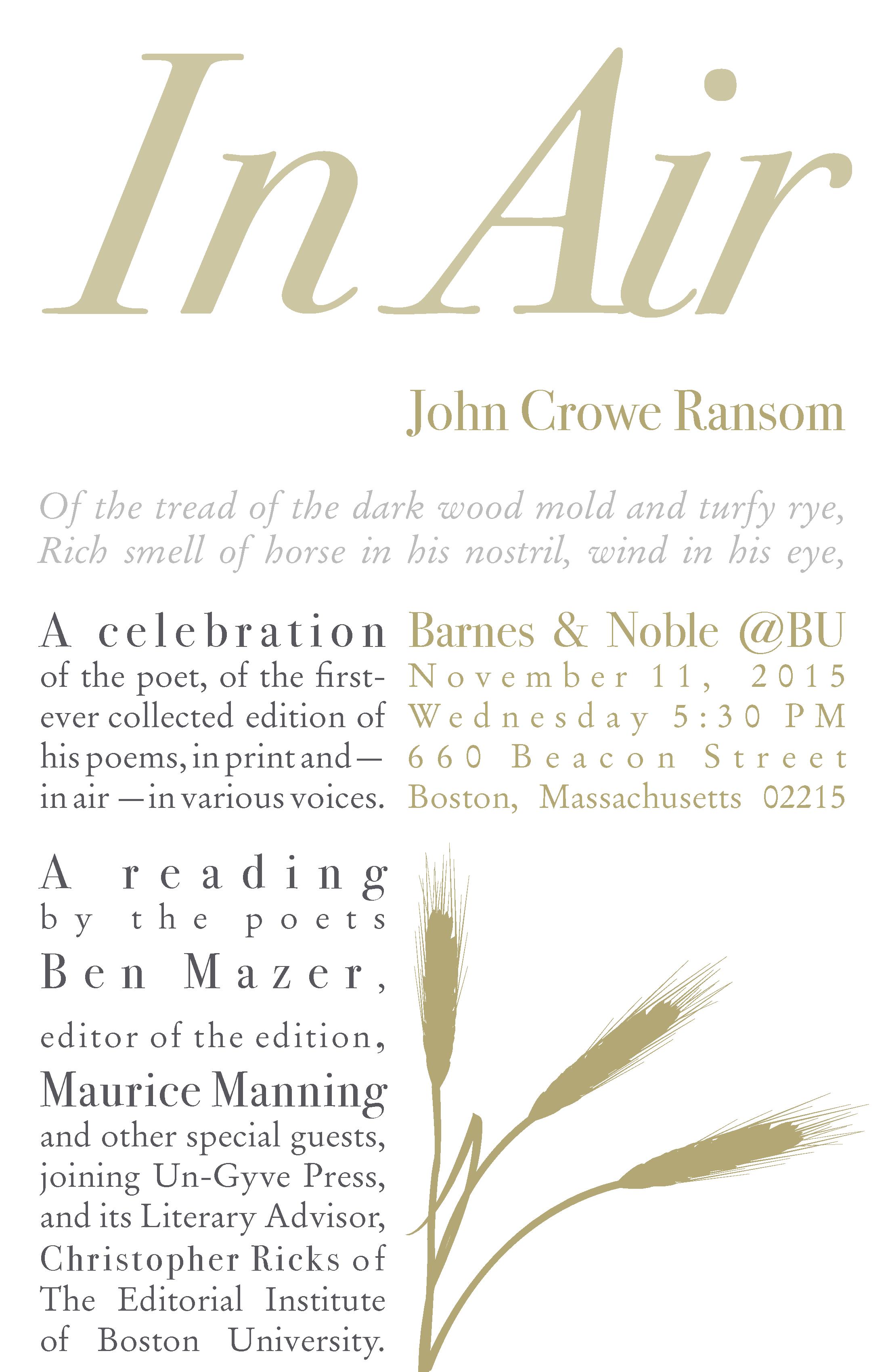 In Air: John Crowe Ransom 11/11/15