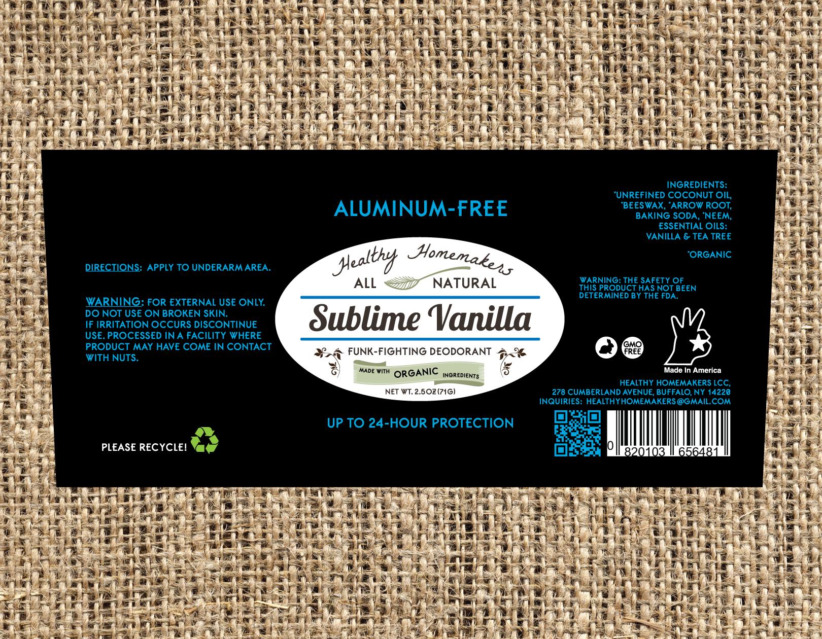 Sublime Vanilla - Aluminum Free Deodorant