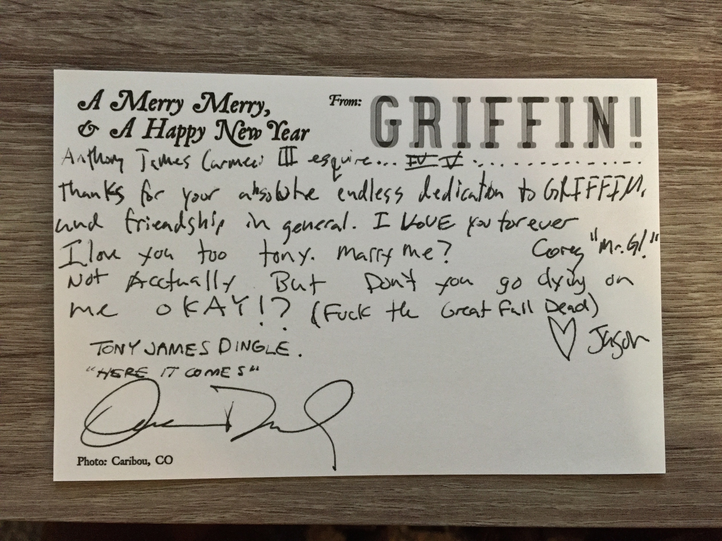 GRIFFIN! 2014 Holiday Card - My Personal Copy