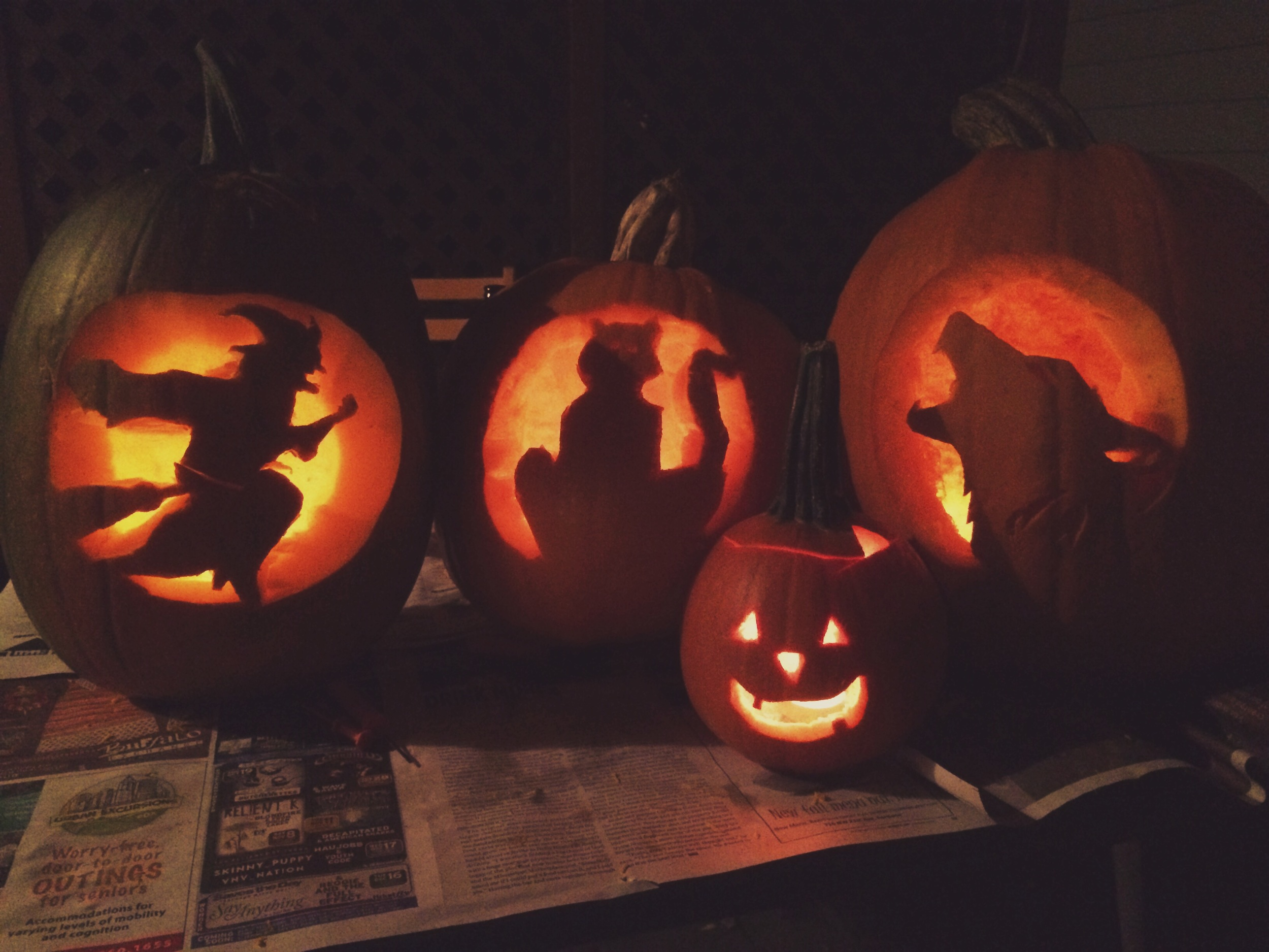 Pumpkins left to right - Marshal's, Jenni's, Ryan's, and mine :)