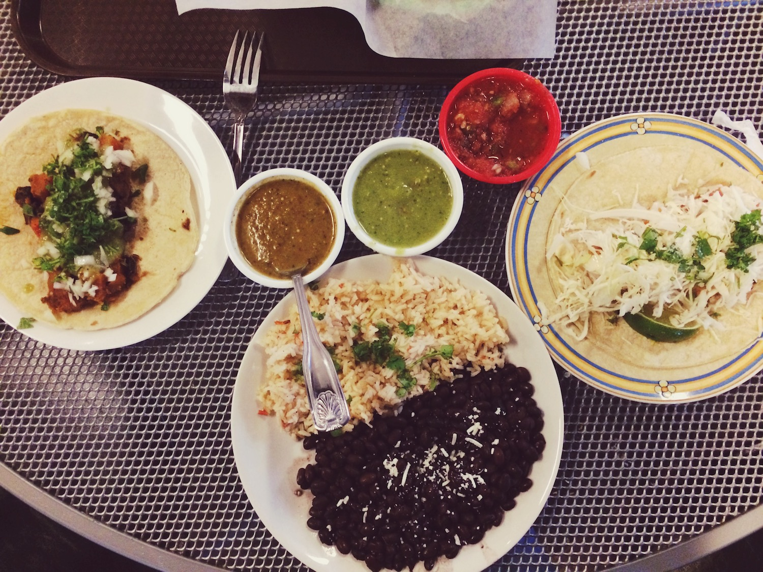 Mama Jeri and I shared a huge helping of tacos and rice and beans from Woody's Tacos