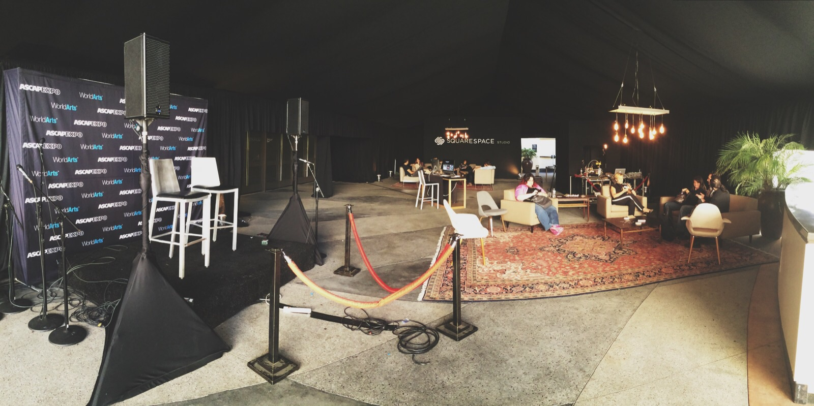 A pano of the lounge on the second day of the convention