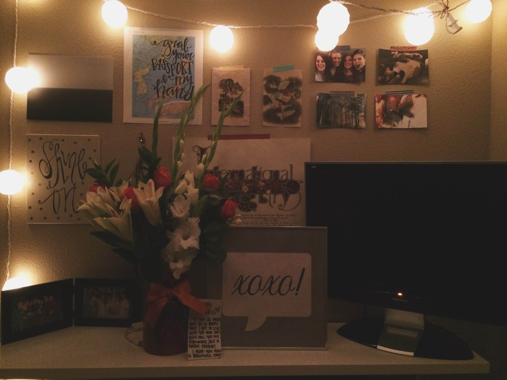 For my birthday, my roommate Amanda got me these flowers and the xoxo! frame.❤️