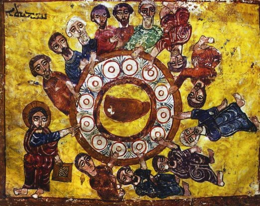 "From a 12th century syriac lectionary. Entitled ""The Last Supper"""