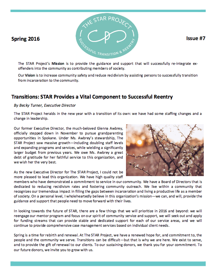 Read the Star Project's spring 2016 Newsletter