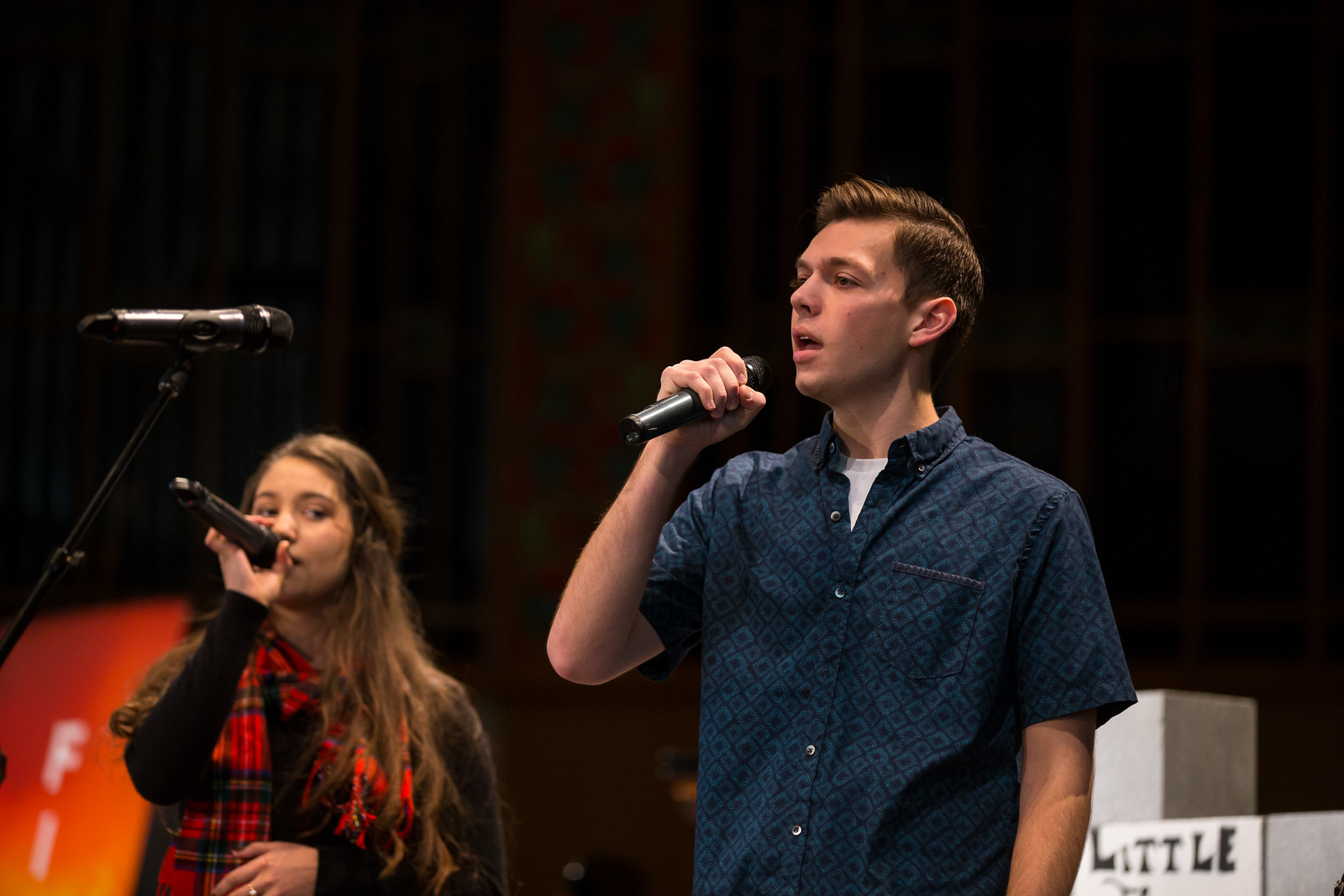 Pictured: Emma ramirez and braden stanyer leading at week of worship 2017