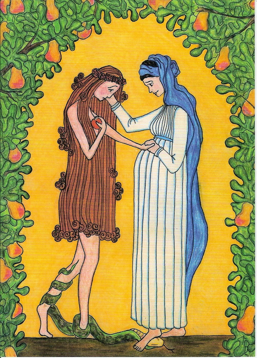 """""""mary consoles eve"""" crayon and pencil by sister grace remington, ocso  copyright 2005, sister of the mississippi abbey. printed by permission"""