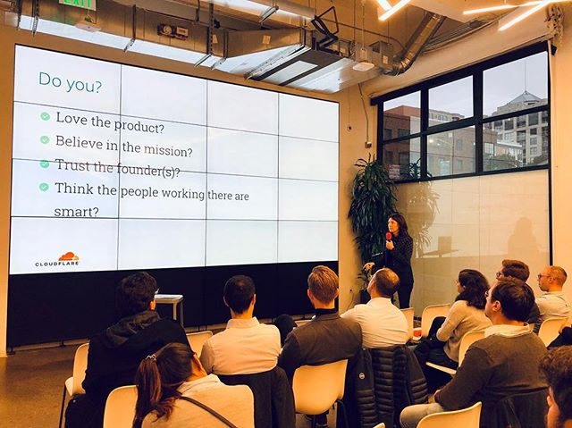 4 questions to ask yourself before going to work for a startup? Thank you Michelle Zatlyn Co-founder and COO at Cloudflare, Inc.  #entrepreneurship #startuplife #mbatrip #siliconvalley #strategiclearning #mbalife #noexcuses #legacyventures #siliconvalleymindset #cloudflare