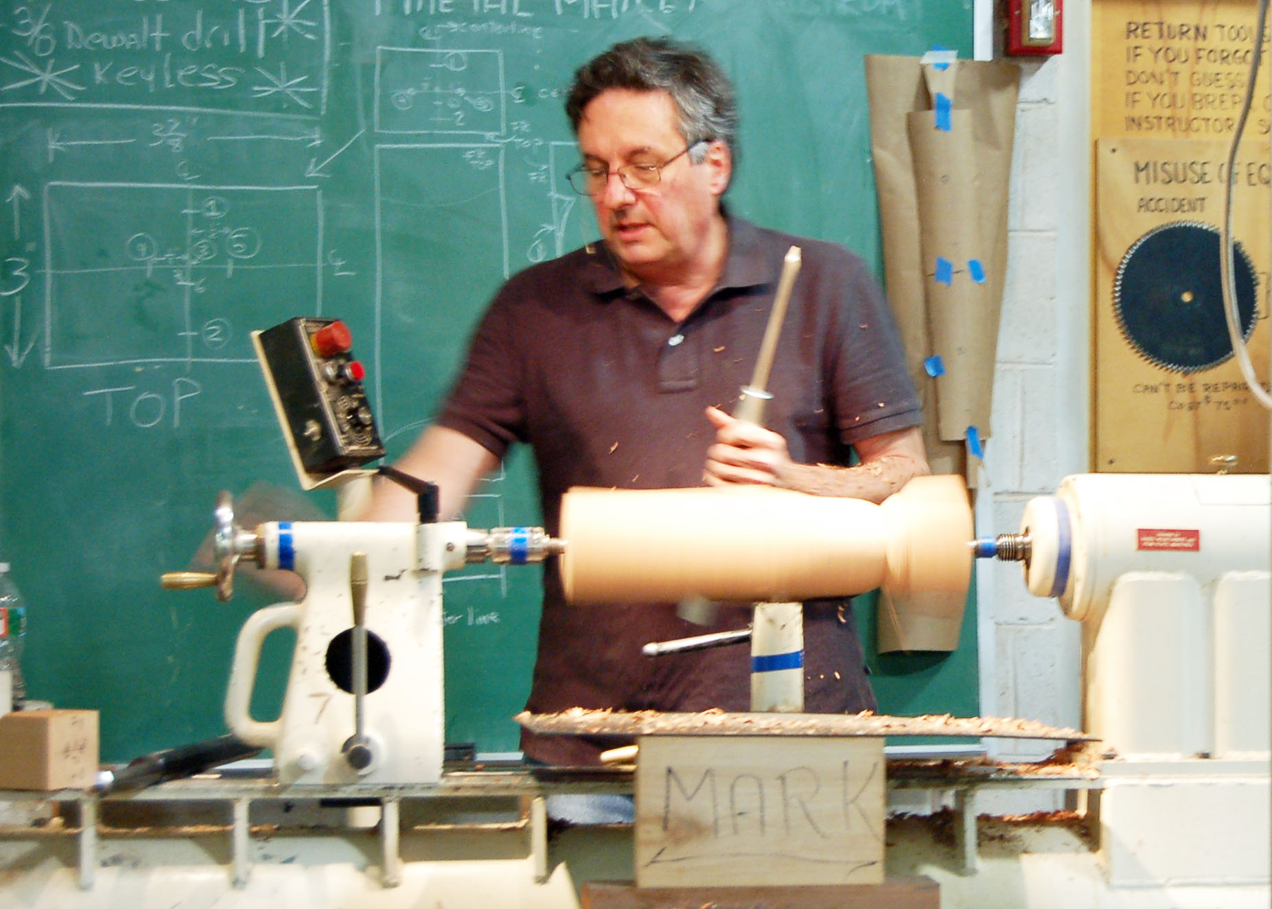 Mark forms the front of the figure- the belly and legs. Note the locations of the various axes on the blackboard.