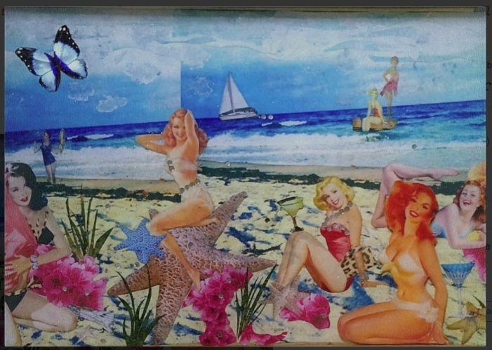 Beach Girls Tempered Glass Cutting Board 8.5x11