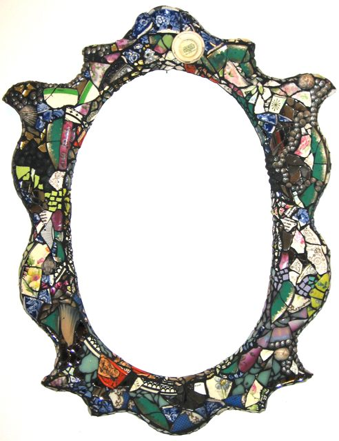 Multicolored Mirror with Black Grout 23x26 $975
