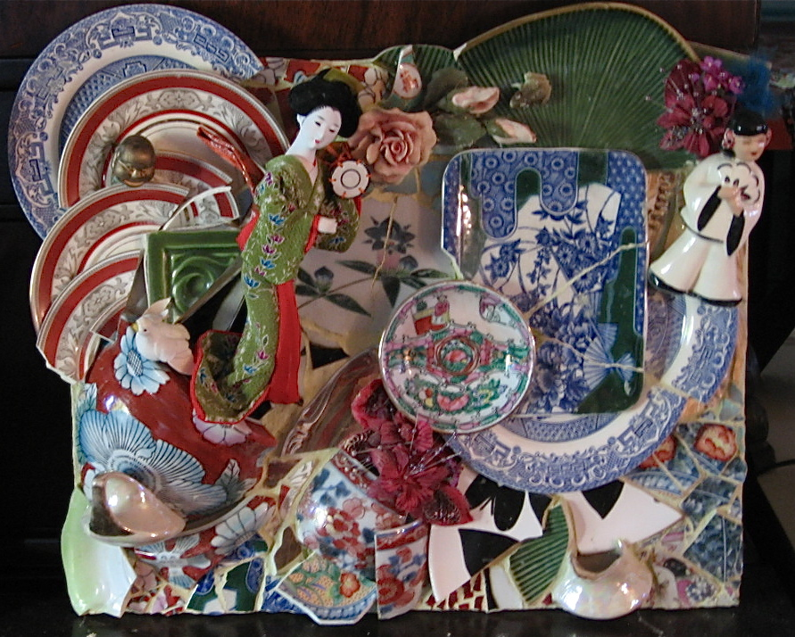 Asian Dolls, w/Vintage Figurines & Plates Wall Hanging 15x18 $1200