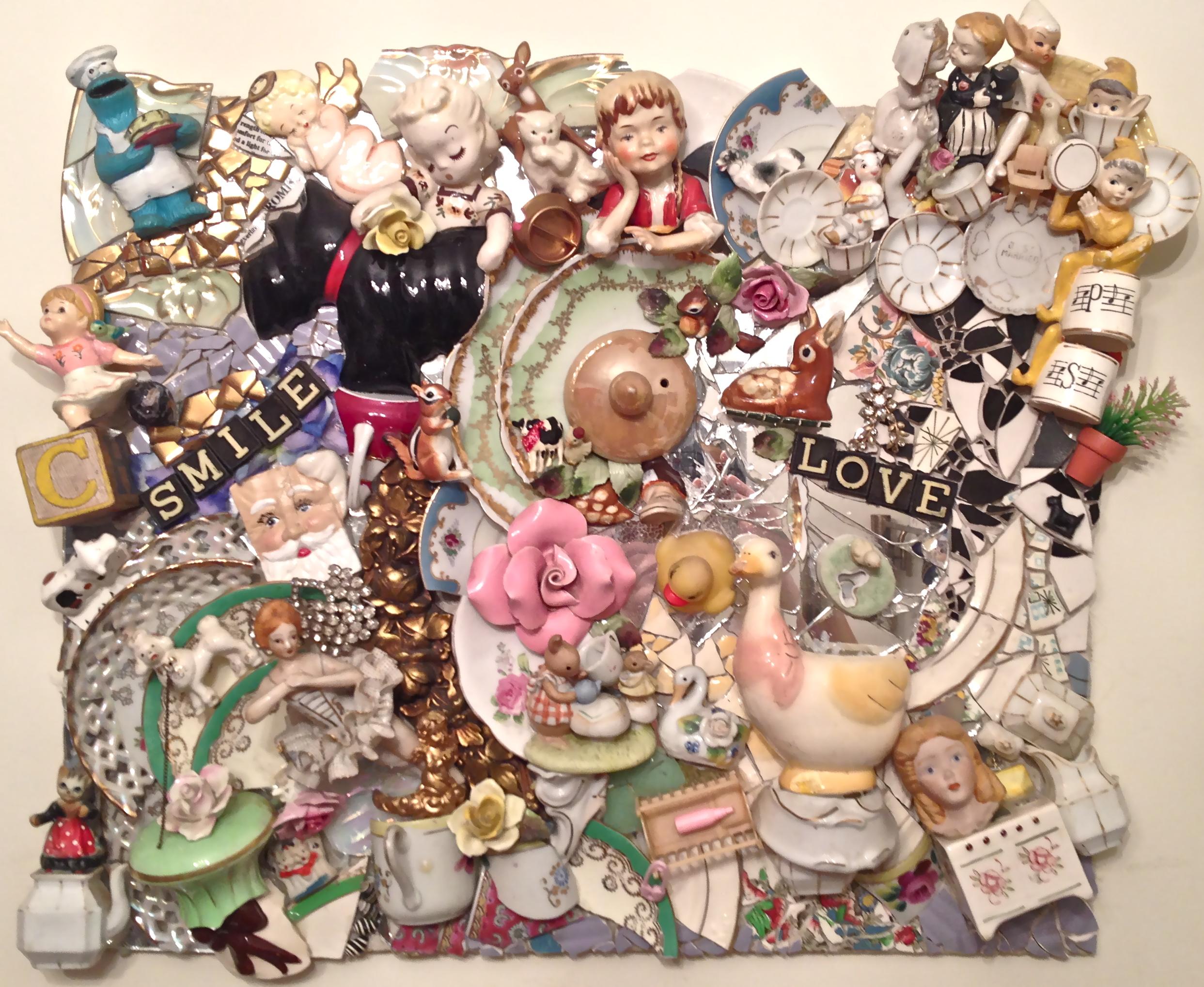 Childhood Dreams w/ Vintage Figurines Wall Hanging  19x22 $1800