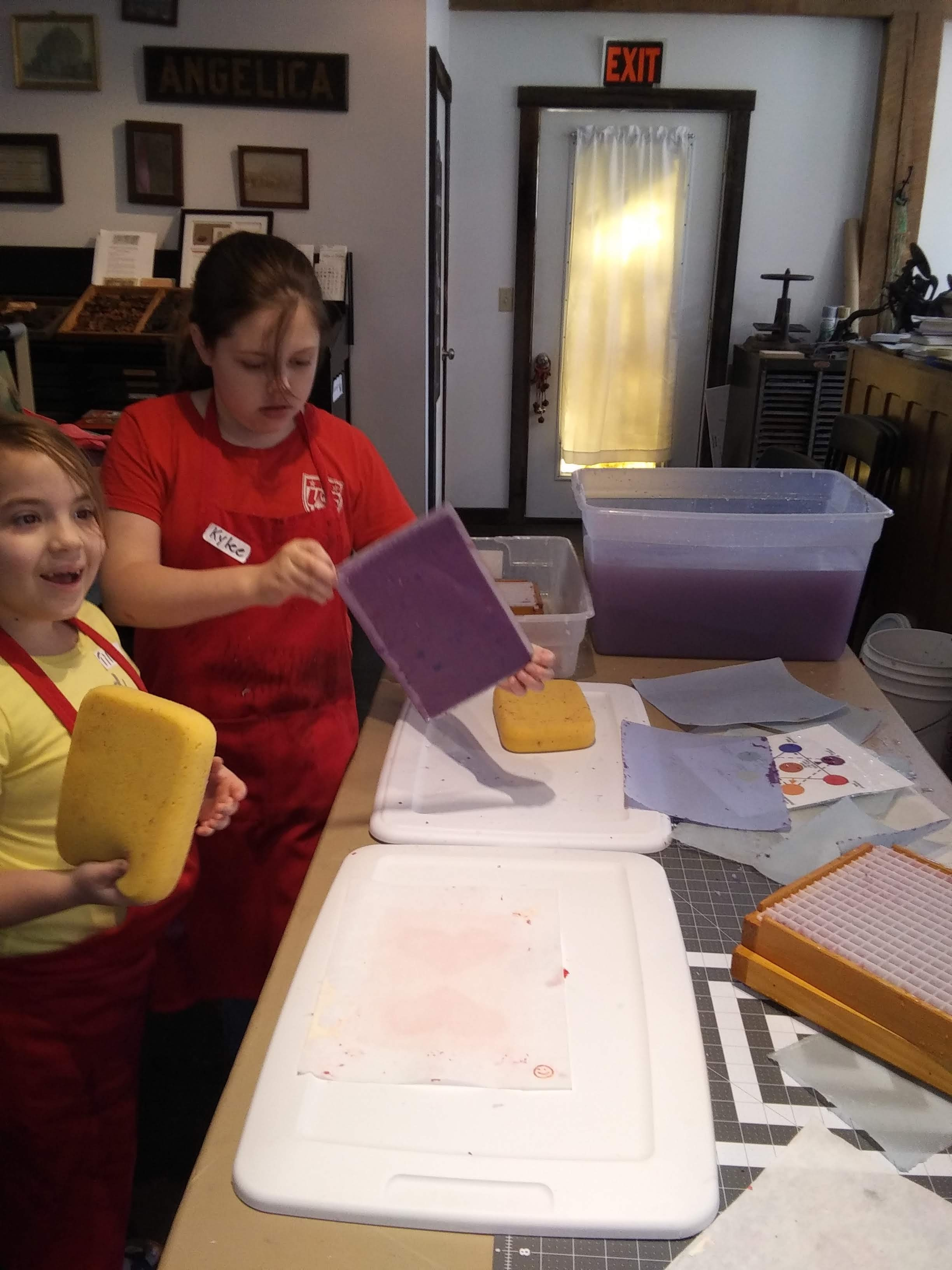 Students from the Allegany Arts Camp enjoy learning how to make handmade recycled paper