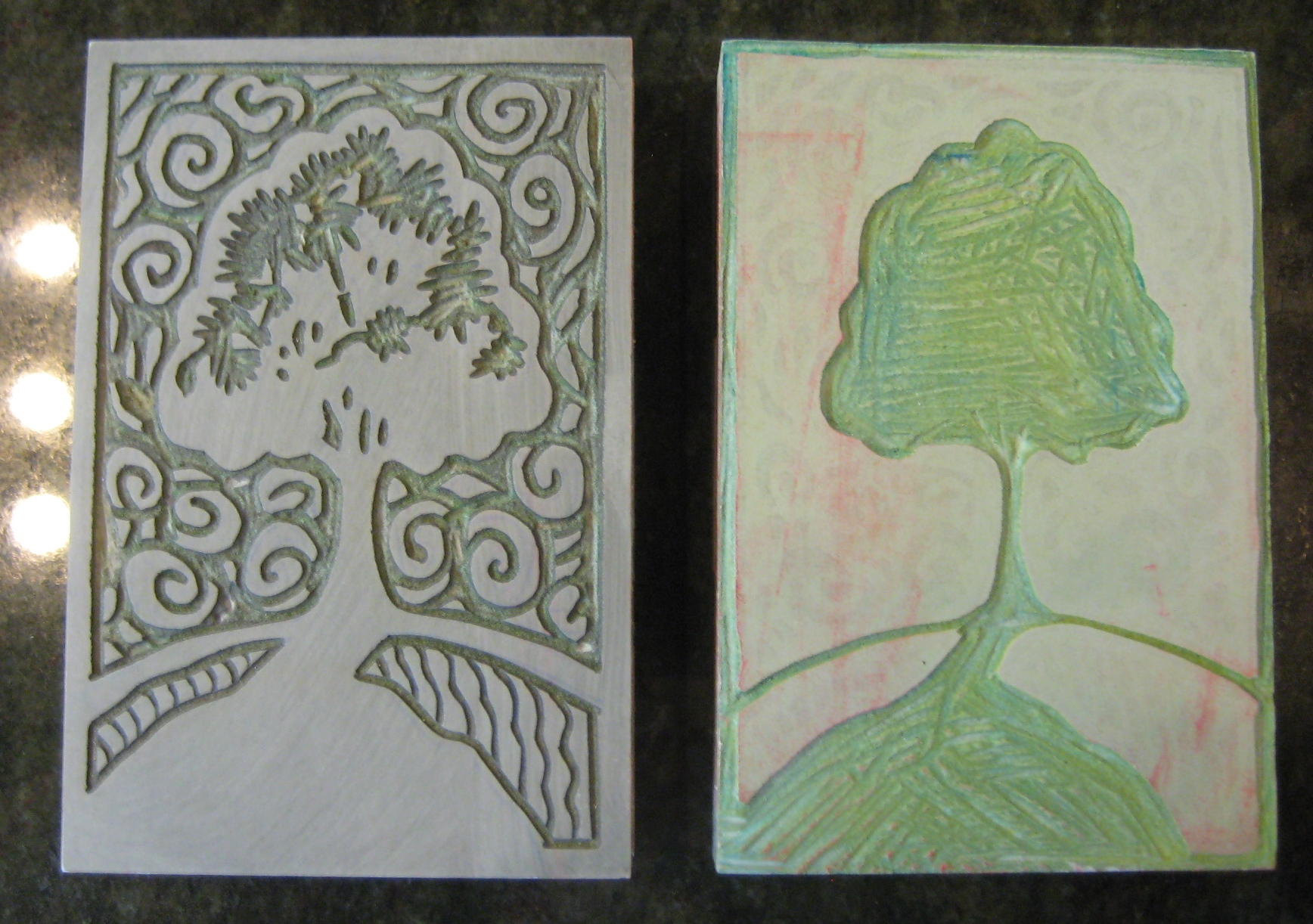 Two color linoleum block plates