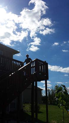 I know you can't see him, but isn't that an awesome sky behind him? I love this picture so much. And him, of course.