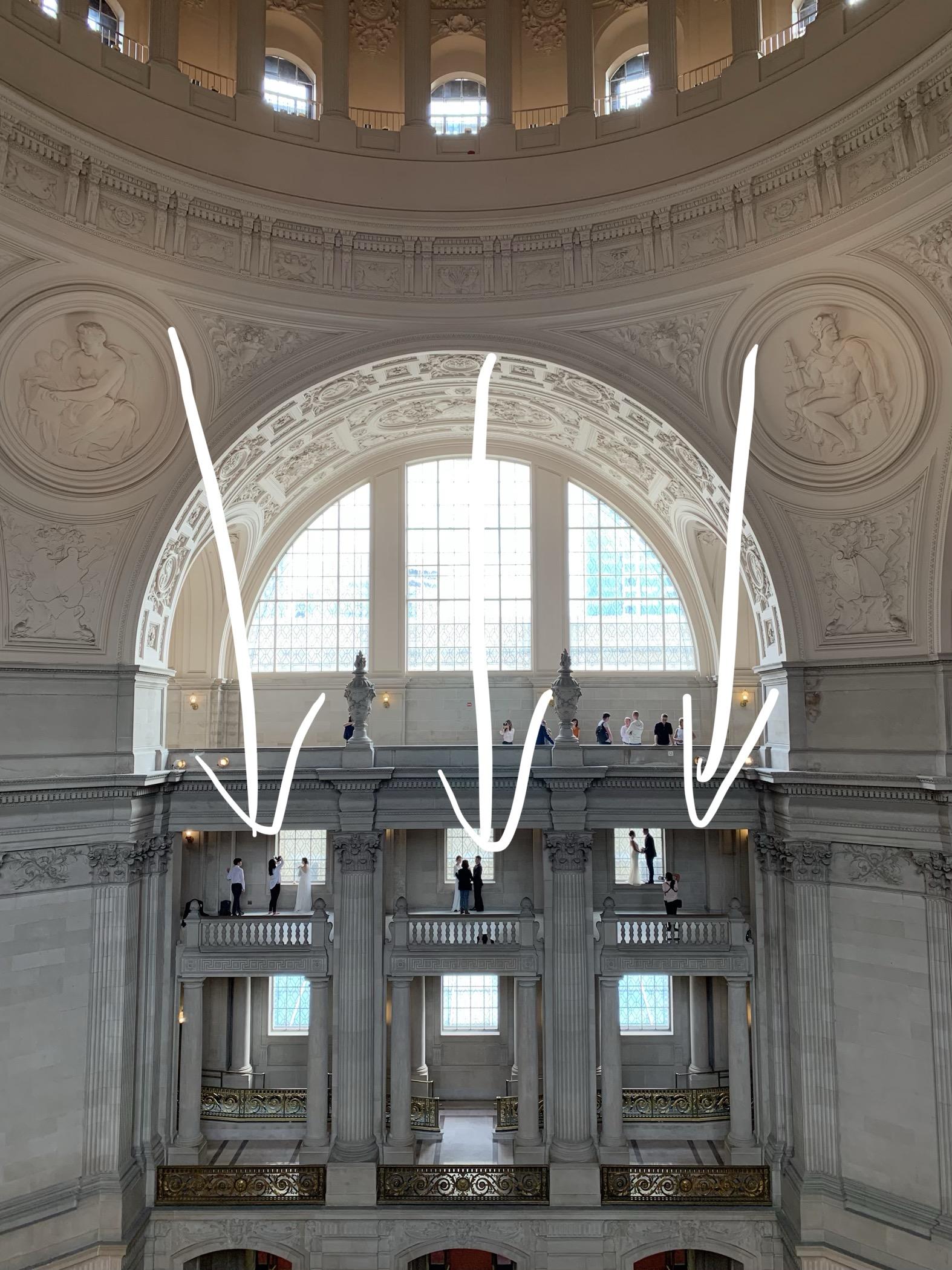 Photographers using the window lights at SF city hall