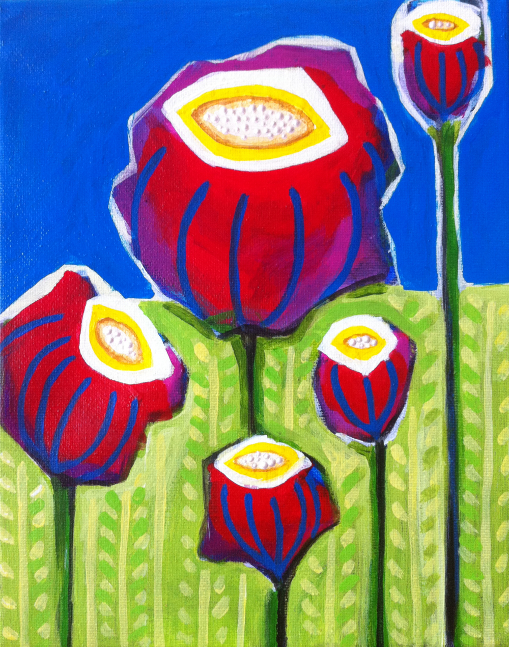 "SOLD ""Funky Flowers"" 8""X10"" $125"