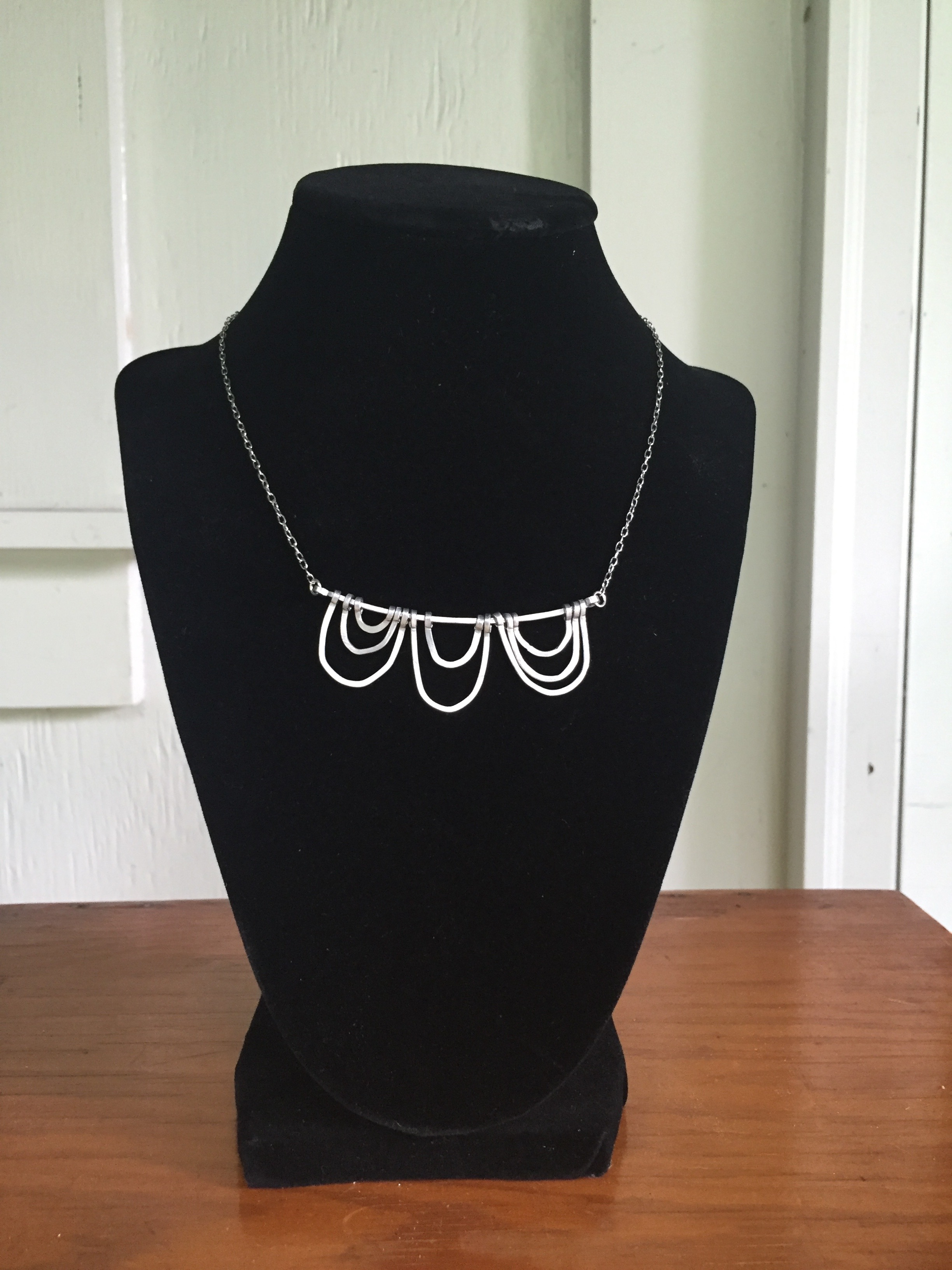 Triple Wave Aluminum Necklace - $40