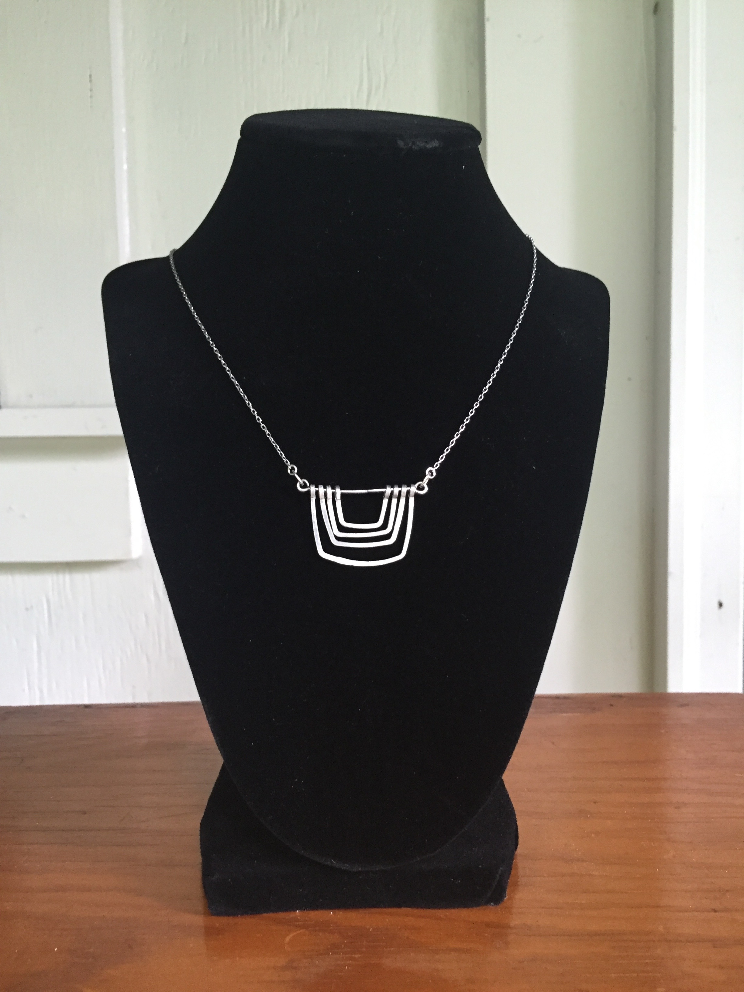 Four Square Aluminum Necklace - $30