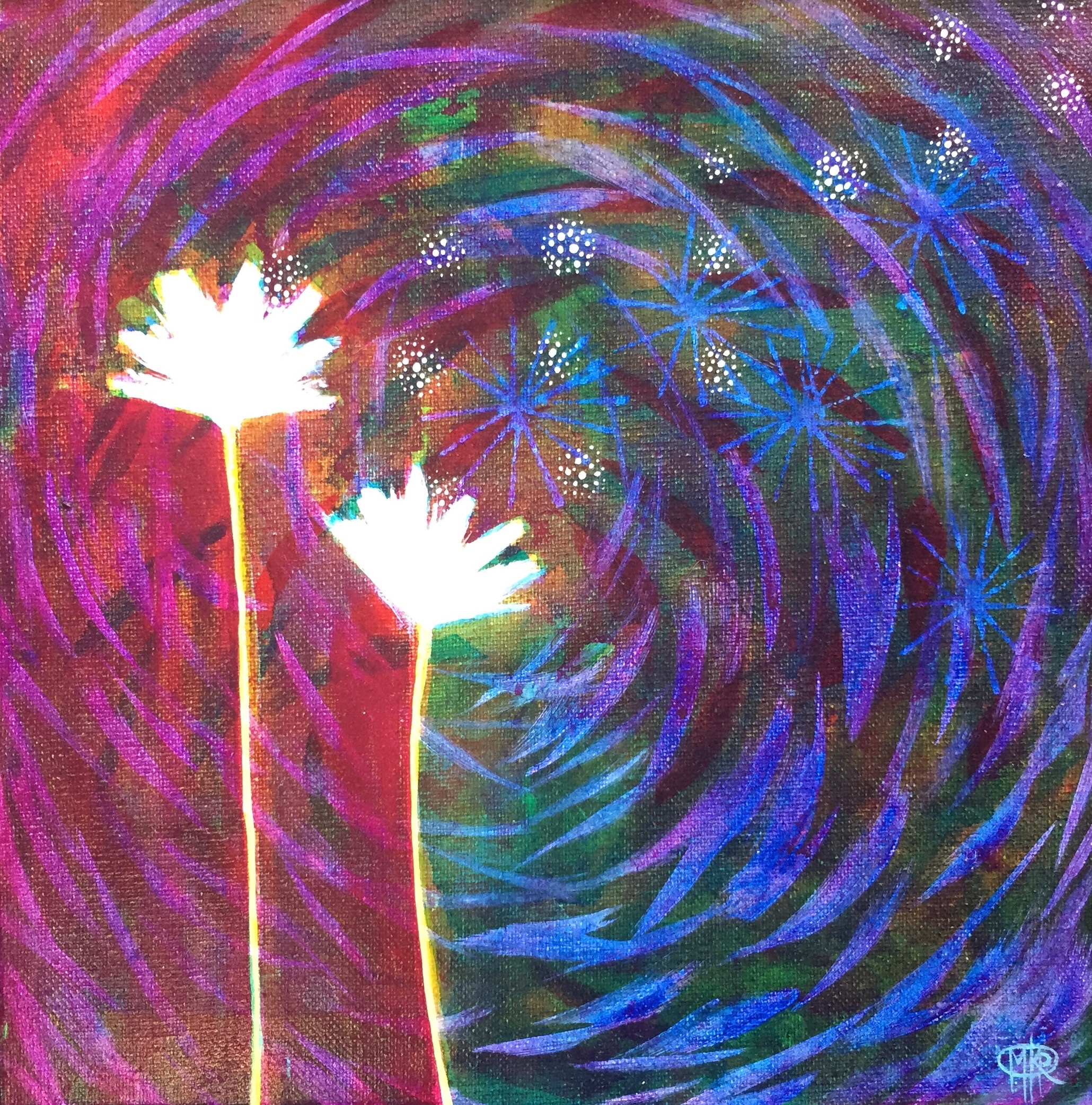 "SOLD - ""Night Blooms"" - 12X12"" - $85"
