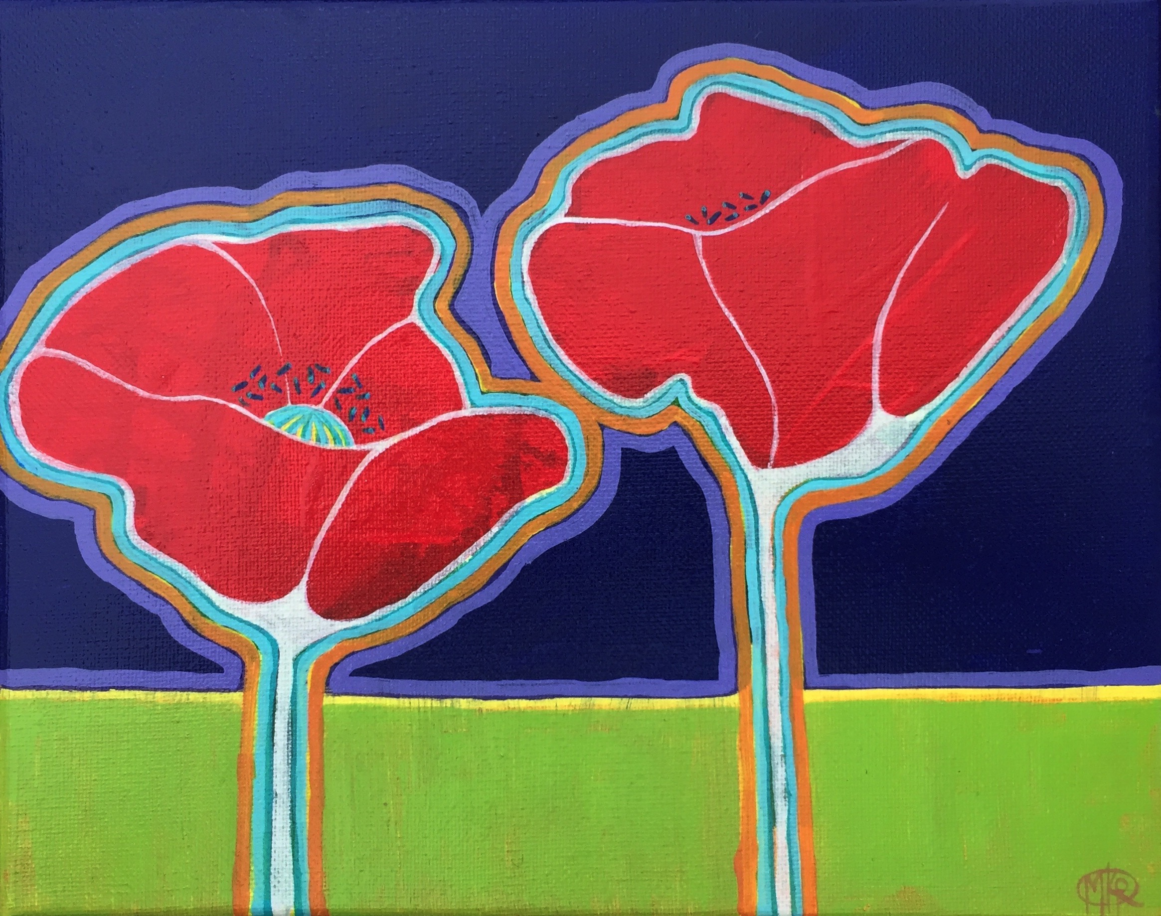 SOLD Poppies with Aura - $150