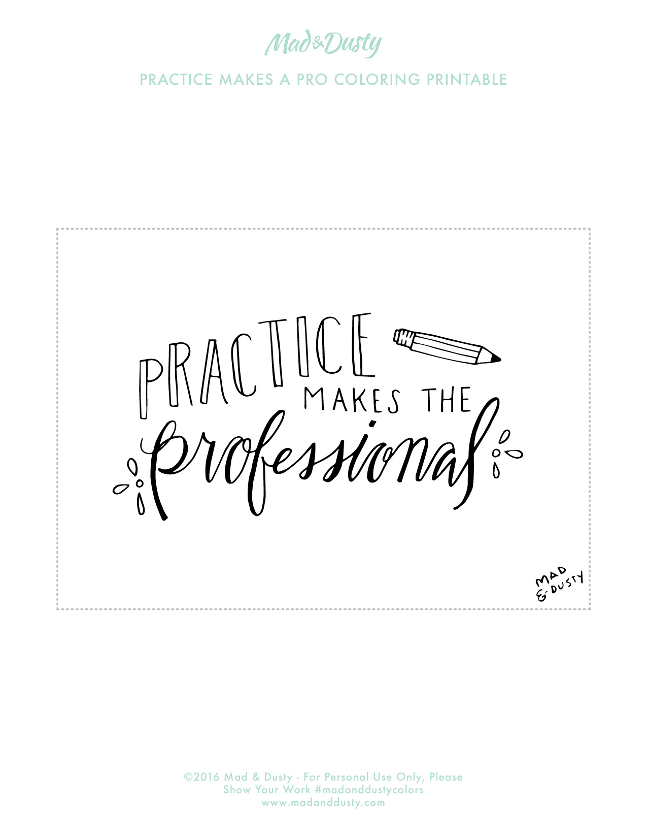 Practice Makes the Professional Quote Coloring Page